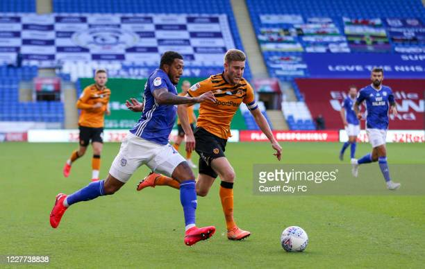 Nathaniel MendezLaing of Cardiff City FC and Callum Elder of Hull City during the Sky Bet Championship match between Cardiff City and Hull City at...