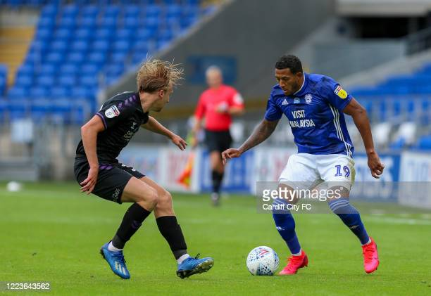Nathaniel MendezLaing of Cardiff City FC and George Lapslie of Charlton Athletic during the Sky Bet Championship match between Cardiff City and...