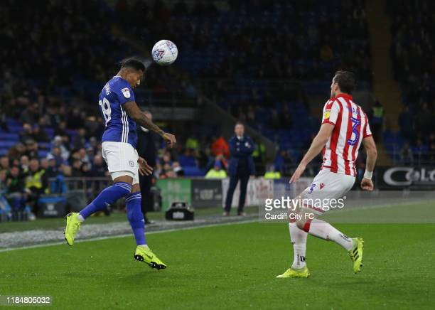 Nathaniel MendezLaing of Cardiff City FC and Stephen Ward of Stoke City during the Sky Bet Championship match between Cardiff City and Stoke City at...