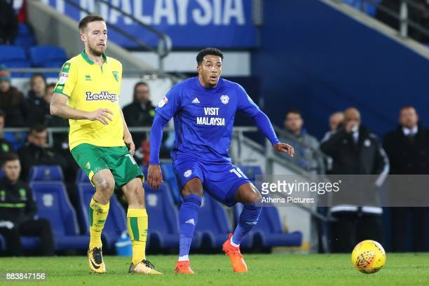 Nathaniel MendezLaing of Cardiff City is challenged by Mario Vrancic of Norwich City during the Sky Bet Championship match between Cardiff City and...