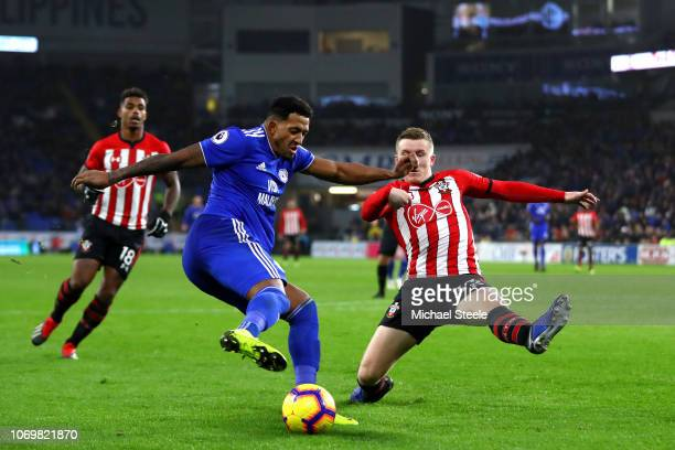 Nathaniel MendezLaing of Cardiff City is challenged by Matt Targett of Southampton during the Premier League match between Cardiff City and...