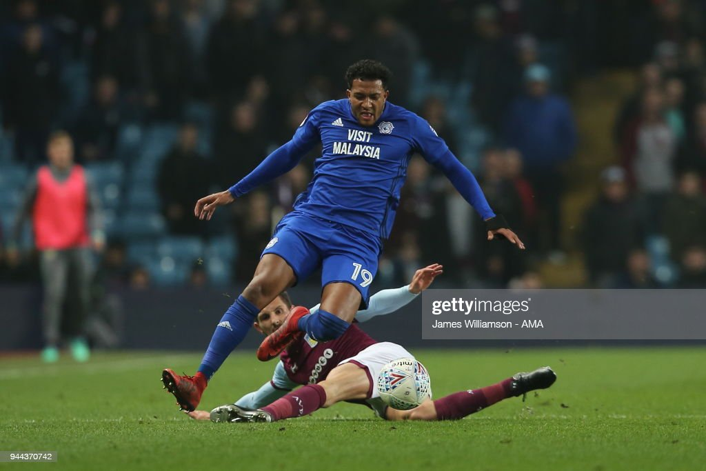 Nathaniel Mendez-Laing of Cardiff City is fouled by Conor Hourihane of Aston Villa during the Premier League match between Leicester City and Newcastle United at The King Power Stadium on April 7, 2018 in Leicester, England.