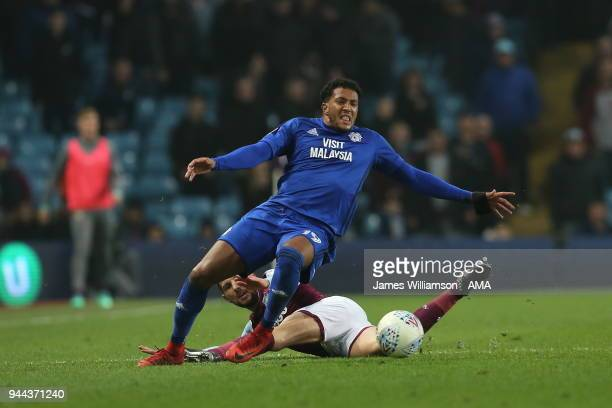 Nathaniel Mendez-Laing of Cardiff City is fouled by Conor Hourihane of Aston Villa during the Premier League match between Leicester City and...