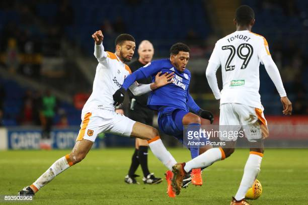 Nathaniel MendezLaing of Cardiff City is marked by Michael Hector of Hull City during the Sky Bet Championship match between Cardiff City and Hull...