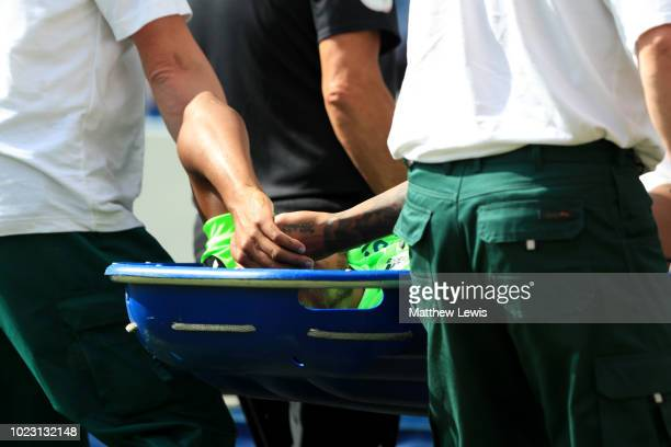 Nathaniel MendezLaing of Cardiff City is stretchered off the pitch during the Premier League match between Huddersfield Town and Cardiff City at John...