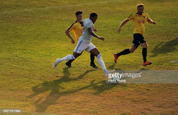 Nathaniel MendezLaing of Cardiff City looks to cross the ball during the PreSeason Friendly match between Bodmin Town and Cardiff City at Priory Park...