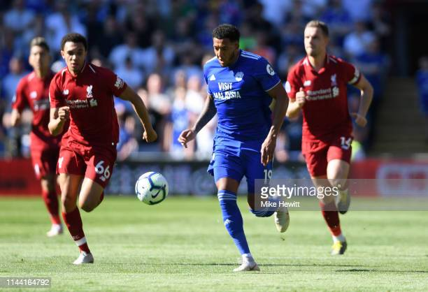 Nathaniel MendezLaing of Cardiff City runs with the ball during the Premier League match between Cardiff City and Liverpool FC at Cardiff City...