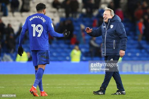 Nathaniel MendezLaing of Cardiff City shakes hands with Cardiff City manager Neil Warnock after the final whistle of the Sky Bet Championship match...