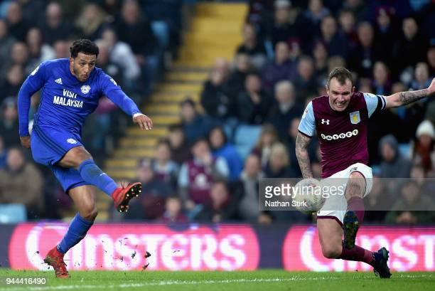 Nathaniel MendezLaing of Cardiff City shoots during the Sky Bet Championship match between Aston Villa and Cardiff City at Villa Park on April 10...