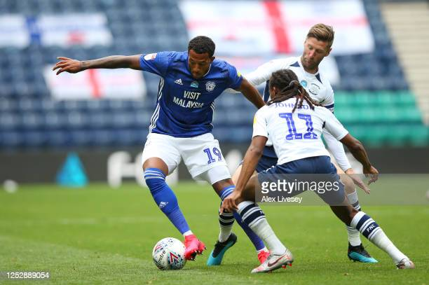 Nathaniel MendezLaing of Cardiff City takes on Daniel Johnson of Preston North End during the Sky Bet Championship match between Preston North End...