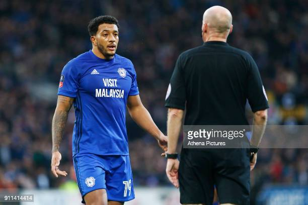 Nathaniel MendezLaing of Cardiff City talks with referee Lee Mason during the Fly Emirates FA Cup Fourth Round match between Cardiff City and...