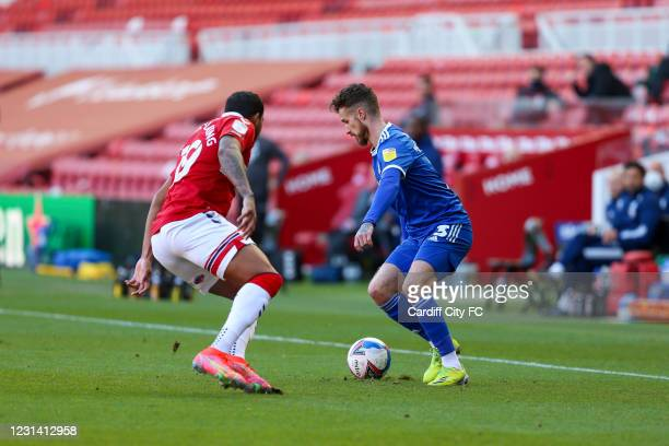 Nathaniel Mendez-Laing of Middlesbrough and Joe Bennett of Cardiff City FC during the Sky Bet Championship match between Middlesbrough and Cardiff...