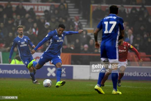 Nathaniel MendezLaing scores a goal during the Sky Bet Championship match between Nottingham Forest and Cardiff City at City Ground on November 30...