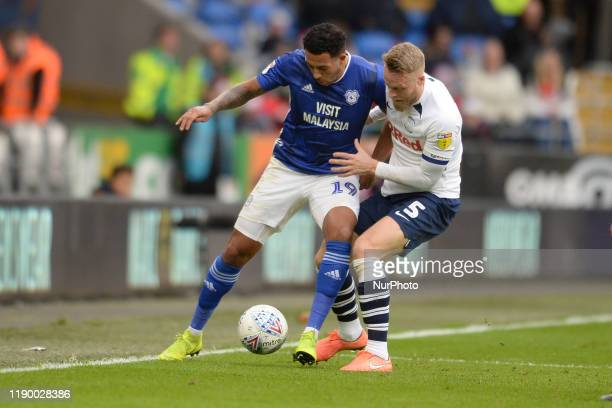 Nathaniel MendezLaingTom Clarke during the Sky Bet Championship match between Cardiff City and Preston North End at Cardiff City Stadium on December...