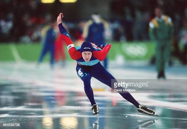 Nathaniel Mills of the USA competes in the Men's 1000 meter event of the Long Track Speed Skating competition of the 1994 Winter Olympics on February...