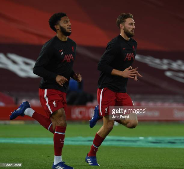 Nathaniel Phillips of Liverpool and Joe Gomez of Liverpool before the Premier League match between Liverpool and West Ham United at Anfield on...