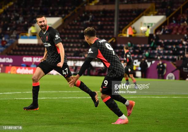 Nathaniel Phillips of Liverpool celebrates after scoring the second goal during the Premier League match between Burnley and Liverpool at Turf Moor...
