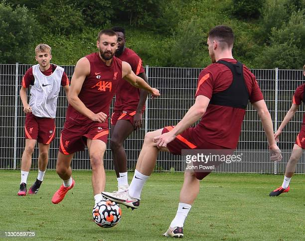 Nathaniel Phillips of Liverpool during a training session on July 25, 2021 in UNSPECIFIED, Austria.