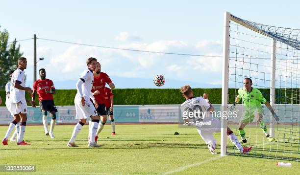 Nathaniel Phillips of Liverpool during the Pre Season match between Liverpool and Bologna on August 05, 2021 in Evian-les-Bains, France.