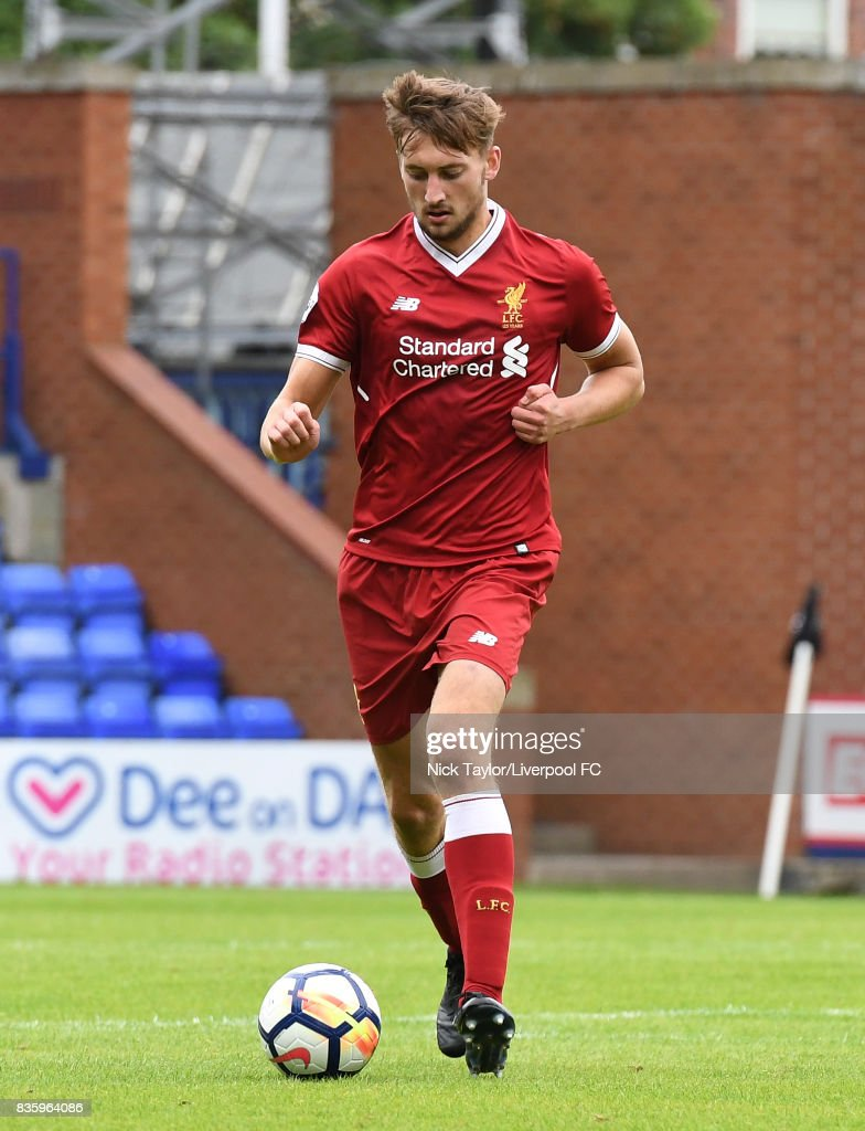 Nathaniel Phillips of Liverpool in action during the Liverpool v Sunderland U23 Premier League game at Prenton Park on August 20, 2017 in Birkenhead, England.