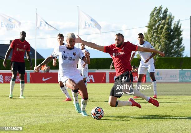 Nathaniel Phillips of Liverpool in action during the Pre Season match between Liverpool and Bologna on August 05, 2021 in Evian-les-Bains, France.