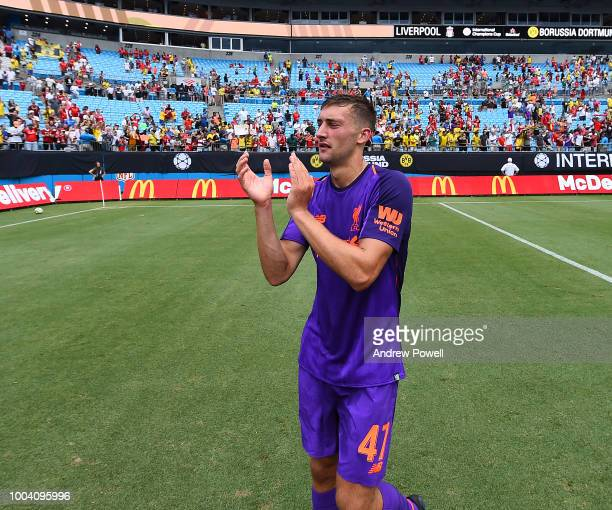 Nathaniel Phillips of Liverpool shows his appreciation to the fans at the end of the International Champions Cup 2018 match between Liverpool and...