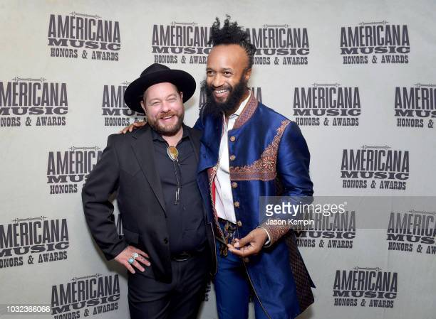 Nathaniel Rateliff and Fantastic Negrito take photos backstage during the 2018 Americana Music Honors and Awards at Ryman Auditorium on September 12...
