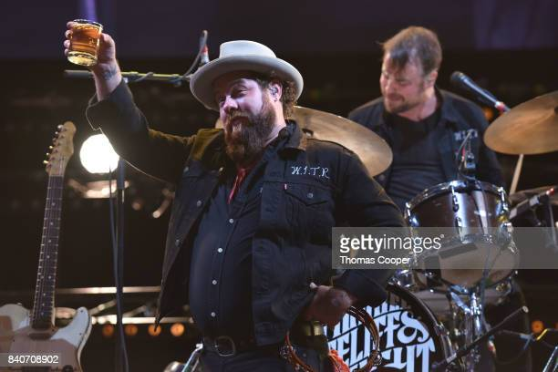 Nathaniel Rateliff and the Night Sweats perform at Red Rocks Amphitheatre on August 29 2017 in Morrison Colorado