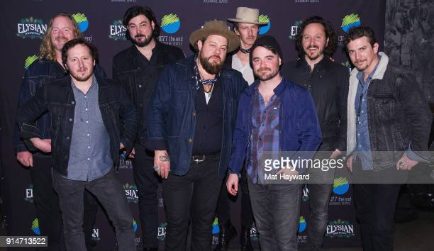 Nathaniel Rateliff and the Night Sweats pose for a photo before performing an EndSession hosted by 1077 The End at Chop Suey on February 5 2018 in...