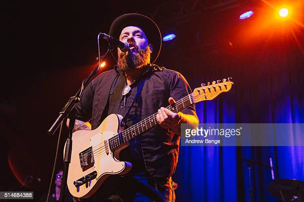 Nathaniel Rateliff of Nathaniel Rateliff The Night Sweats performs on stage at The O2 Ritz Manchester on March 10 2016 in Manchester England