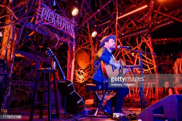 Nathaniel Rateliff performs a solo set on the Woods stage at Pickathon music festival in Happy Valley Oregon USA on 4th August 2019