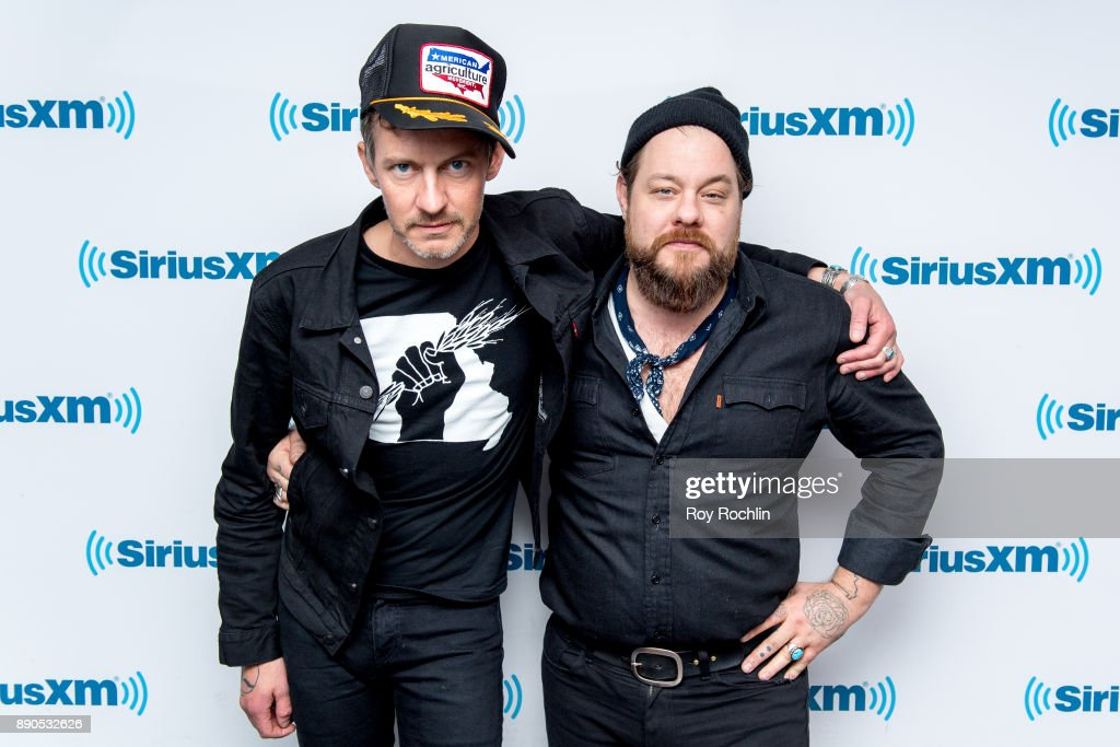 Nathaniel Rateliff & The Night Sweats members Joseph Pope III and Nathaniel Rateliff visit at SiriusXM Studios on December 11, 2017 in New York City.