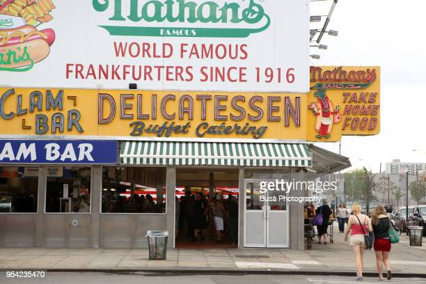 Nathan's Famous Hot Dogs & Restaurants in its original first location on Surf Ave, Brooklyn, New York