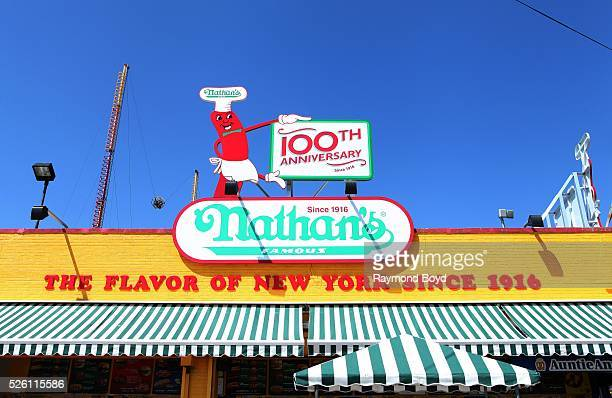 Nathan's Famous on the boardwalk at Luna Park Amusement Park in Brooklyn New York on April 14 2016