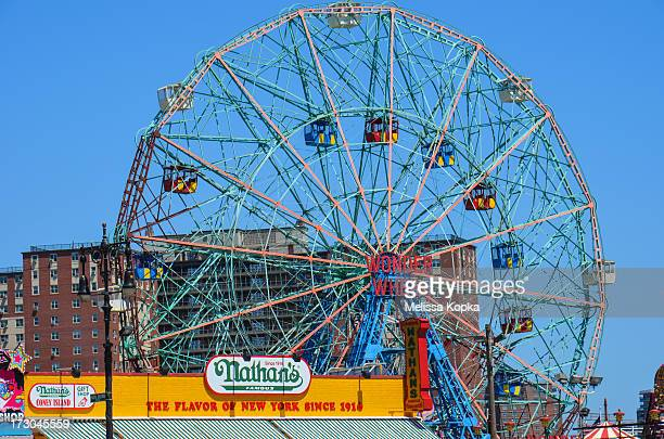 Nathan's Hot Dog restaurant and the famous Coney Island Wonder Wheel in Brooklyn, New York City.