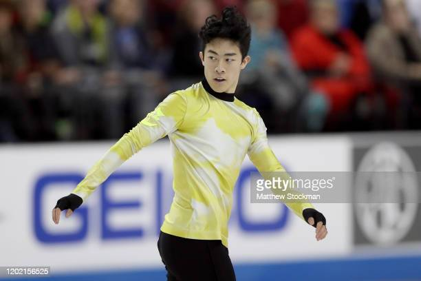Nathen Chen skates in the Men's Free Skate during the 2020 U.S. Figure Skating Championships at Greensboro Coliseum on January 26, 2020 in...