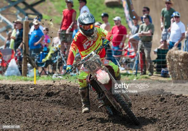 Nathen LaPorte rides through the corner during the Lucas Oil Pro Motorcross Tennessee National race at Muddy Creek Raceway in Blountville TN