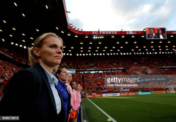 Natherlands Head Coach Sarina Wiegman looks on ahead of the UEFA Women's Euro 2017 Semi Final match between Netherlands and England at De Grolsch...