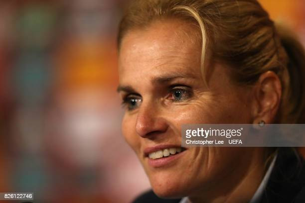 Natherlands Head Coach Sarina Wiegman speaks to the media at a press conference following the UEFA Women's Euro 2017 Semi Final match between...