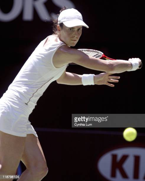 Nathlie Dechy attacks the ball during her fourthround match against Anastasia Myskina during during the 2005 Australian Open at Melbourne Park in...