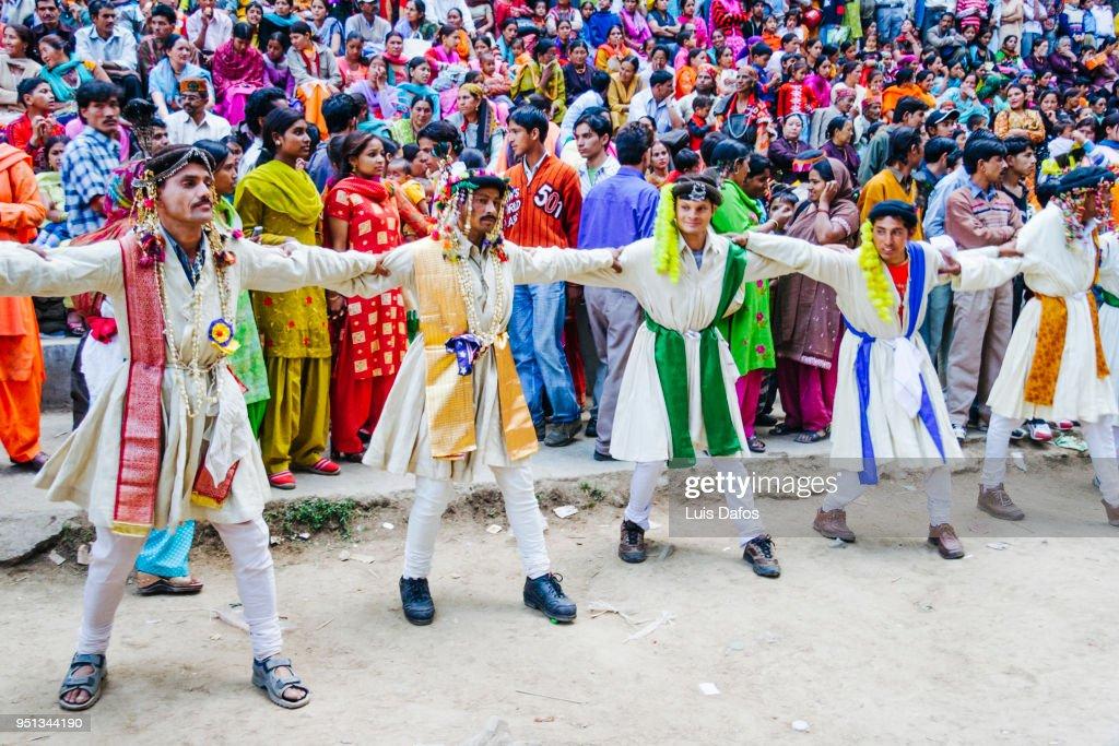 Nati dancers at the Hadimba Devi festival in Manali : Stock Photo