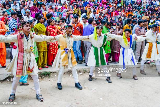 nati dancers at the hadimba devi festival in manali - dafos stock photos and pictures