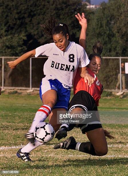 8 Natilie Sanderson Buena High gets the better of it from Jill Oakes of Harvard–Westlake during a soccer match Tuesday in Ventura DIGITAL IMAGE SHOT...