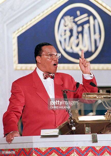 Nation of Islam leader Louis Farrakhan addresses followers in a Chicago mosque 17 Jaunary declaring his innocence in the assassination of Malcolm X...
