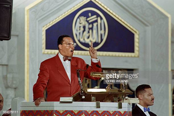 Nation of Islam leader Louis Farrakhan addresses followers in a Chicago mosque on January 17 1995 declaring his innocence in the assassination of...