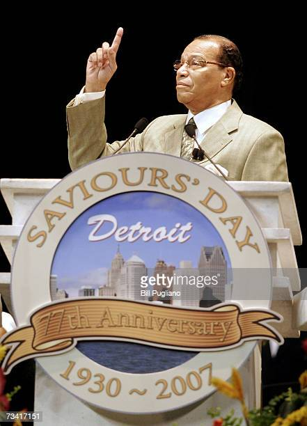 Nation of Islam leader Louis Farrakhan delivers the keynote address at the Nation of Islam's Saviour's Day convention February 25 2007 at Ford Field...