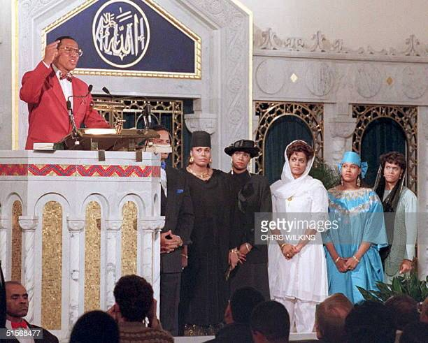 Nation of Islam leader Louis Farrakhan is joined onstage by his wife and daughters in Chicago 17 January as he makes his first public statement on...