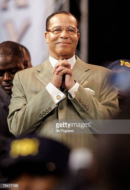 Nation of Islam leader Louis Farrakhan listens to the applause of the crowd before delivering the keynote address at the Nation of Islam's Saviour's...