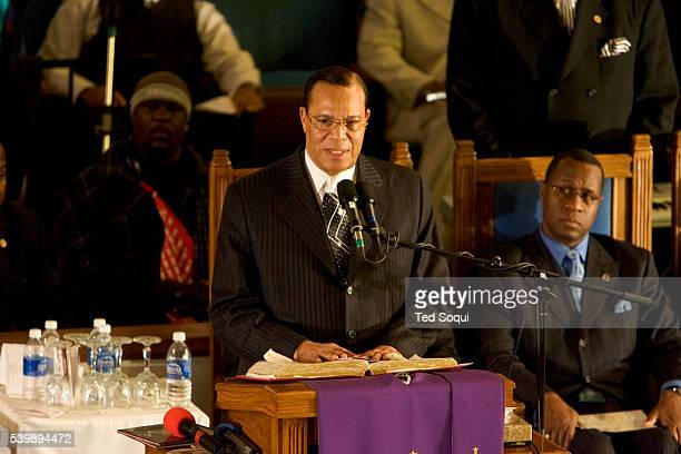 Nation of Islam leader Louis Farrakhan speaking at the funeral services for Stanley 'Tookie' Williams at Bethel AME Church in South Central Los...