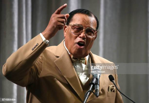 Nation of Islam Minister Louis Farrakhan delivers a speech and talks about US President Donald Trump at the Watergate Hotel on November 16 2017 in...